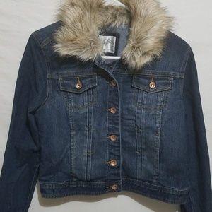 Justice Fur Trim Denim Jacket Girls 18 NWOT